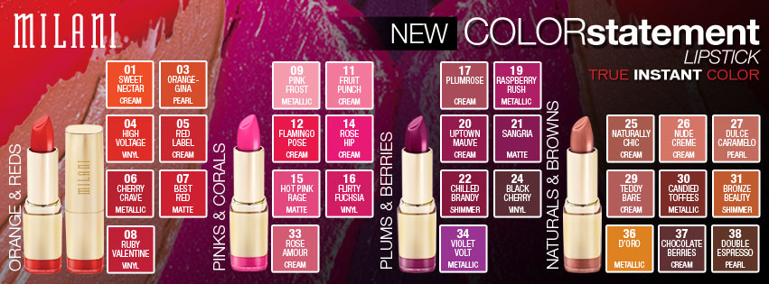 Milani New 2013 Launch: Color Statement Lipstick and Color Statement Lipliner