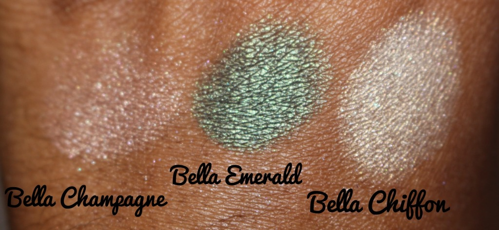 Milani Cosmetics Bella Gel Powder Eyeshadow Bella Champagne Bella Emerald and Bella Chiffon.jpg