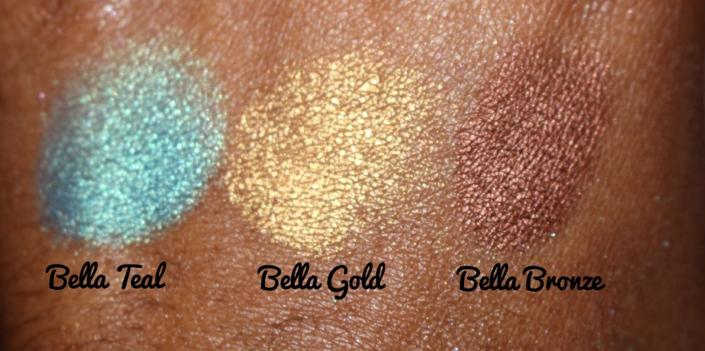 Milani Cosmetics Bella Gel Powder Eyeshadow Bella Teal Bella Gold and Bella Bronze.jpg