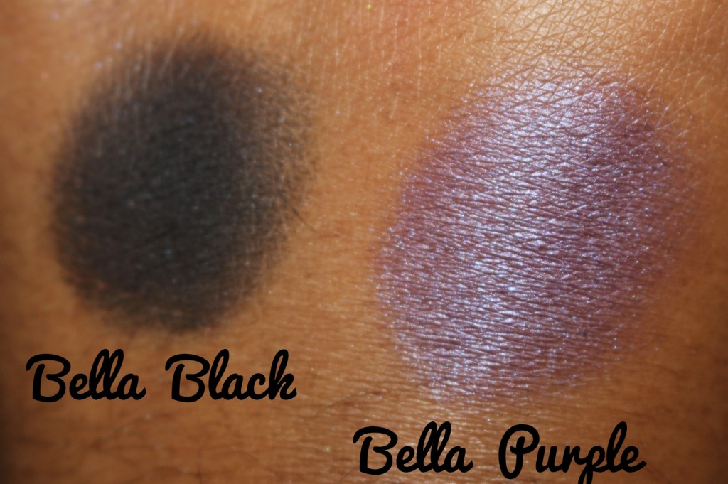 Milani Cosmetics Bella Gel Powder Eyeshadow Swatches Bella Black and Bella Purple.jpg