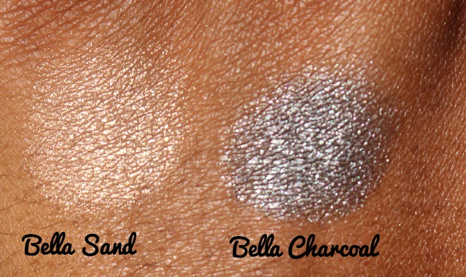 Milani Cosmetics Bella Gel Powder Eyshadow Swatches Bella Sand and Bella Charcoal.jpg