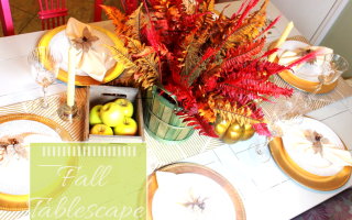 Fall Tablescape Green and Gold